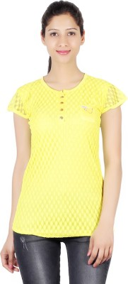 ASH Party Short Sleeve Solid Women's Yellow Top