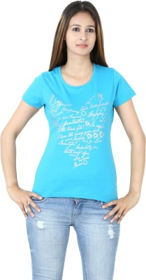 Groviano Casual Short Sleeve Printed Women's Light Blue Top