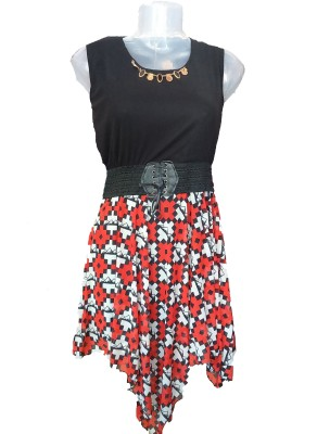 Jhumri Casual Short Sleeve Floral Print Girl's Red, Black Top