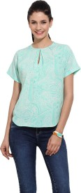 Primo Knot Casual Short Sleeve Printed Women's Green Top
