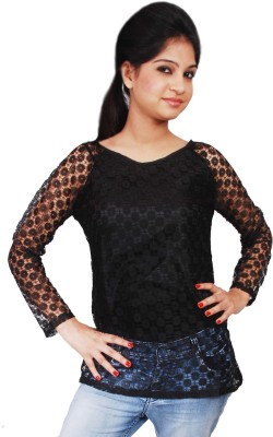 Naughty Bear Casual Full Sleeve Solid Women,s Black Top