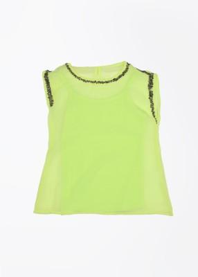 Gini & Jony Casual Sleeveless Solid Girl's Yellow Top