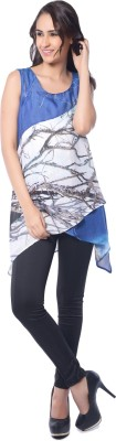 Florriefusion Casual Sleeveless Printed Women's Blue Top
