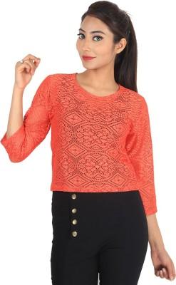 Jiyami Creations Casual 3/4 Sleeve Embroidered Women's Orange Top