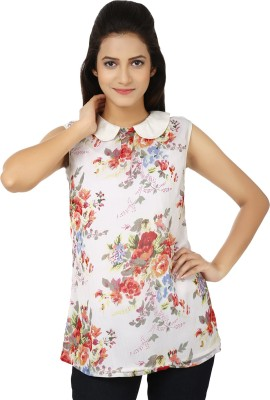 Whistle Casual Sleeveless Floral Print Women's White, Red Top
