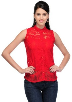 Dwm Casual, Party 3/4 Sleeve Solid Women's Red Top