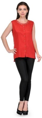 Dwm Party, Casual Cap sleeve Solid Women's Red Top