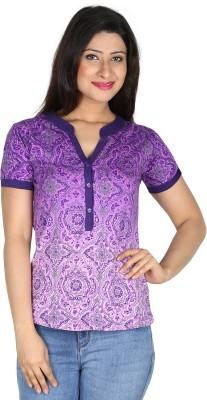 Modimania Casual, Formal, Festive, Party Short Sleeve Self Design Women's Purple Top