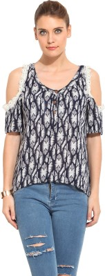 Rena Love Casual Short Sleeve Printed Women's Blue, White Top