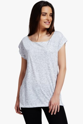 PNY Casual Short Sleeve Solid Women's Grey Top
