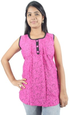 ShopMore Casual Sleeveless Floral Print Women's Pink Top