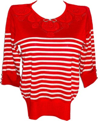 Forever 18 Casual 3/4 Sleeve Striped Women's Red Top