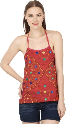 Atulya Casual Sleeveless Embroidered Women's Red Top