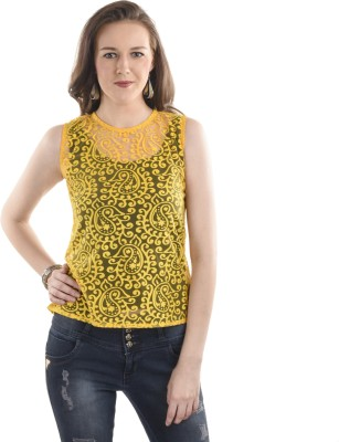 Ausehen Casual Sleeveless Solid Women's Yellow Top