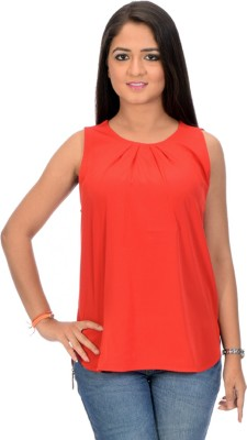 BrandTrendz Casual Sleeveless Printed Women's Red Top