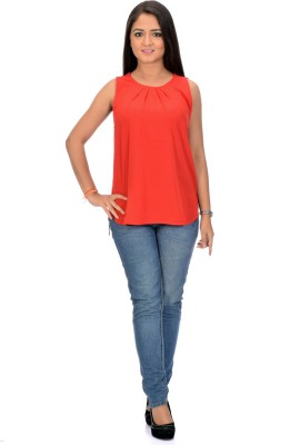 Instinct Casual, Festive Sleeveless Solid Women,s Red Top