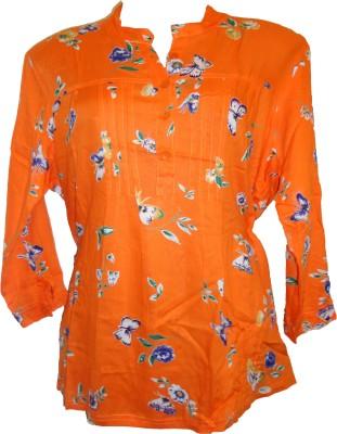 Deesha Casual 3/4 Sleeve Floral Print Women's Orange Top