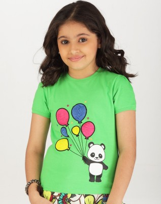 Ventra Casual Short Sleeve Embroidered Girl's Green Top