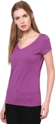 T-shirt Company Casual Short Sleeve Solid Women's Purple Top