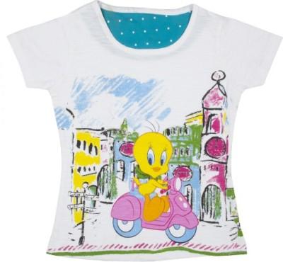 Tweety Casual Short Sleeve Printed Girl's White Top