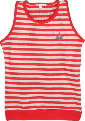 Eimoie Casual Sleeveless Striped Girl's Red, Grey Top