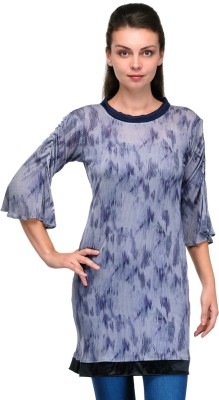 Enchanted Drapes Casual Bell Sleeve Printed Women's Blue Top
