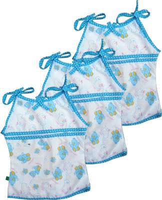 SRIM Casual Sleeveless Animal Print Baby Girl's Light Blue Top