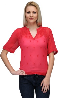 Curvy Q Casual Short Sleeve Solid Women's Red Top