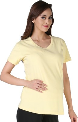 Morph Maternity Casual Short Sleeve Solid Women's Yellow Top