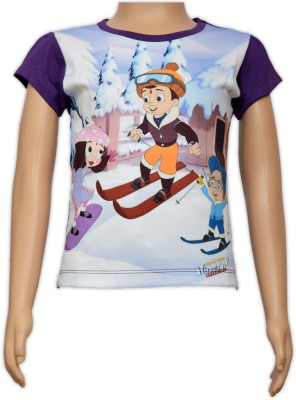 Chhota Bheem Casual Short Sleeve Printed Girl's Multicolor Top