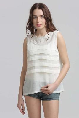 Moda Elementi Casual Sleeveless Solid Women's White Top