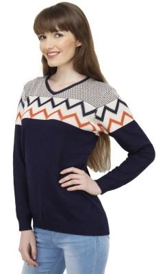Camey Casual Full Sleeve Self Design Women's Blue Top