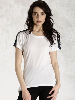 Roadster Casual Short Sleeve Solid Women's White Top