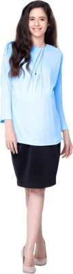 MamaCouture Casual Full Sleeve Solid Women's Light Blue Top