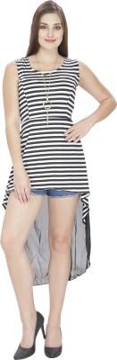 Franclo Party Sleeveless Striped Women's Black, White Top