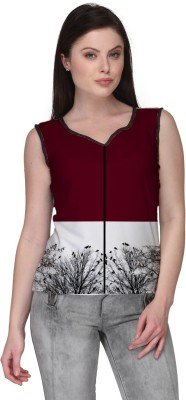 Avya Casual Sleeveless Floral Print Women's Maroon Top