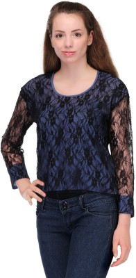 Fashionwalk Casual Full Sleeve Self Design Women's Dark Blue Top