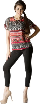 109F Casual Short Sleeve Printed Women's Multicolor Top