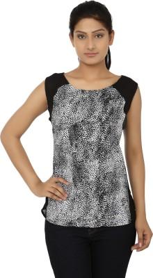 Aussehen Casual Sleeveless Printed Women's Black, White Top