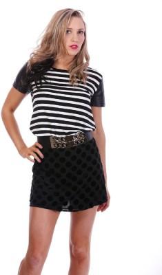 Imonni Party Short Sleeve Striped Women's Black, White Top