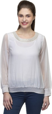 One Femme Party, Wedding Full Sleeve Solid Women,s White Top
