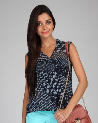 Free Spirited Casual Sleeveless Printed Women's Blue Top