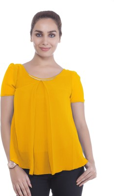 Revoure Formal Short Sleeve Solid Women's Yellow Top