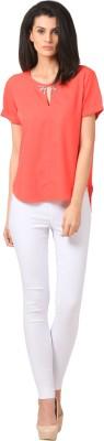 Sei Bello Casual Short Sleeve Solid Women's Orange Top