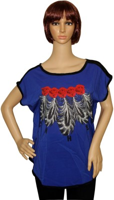 Sarva Party, Formal, Casual Sleeveless Printed Women's Blue Top