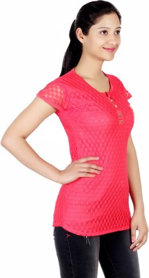 ASH Party Short Sleeve Solid Women's Red Top