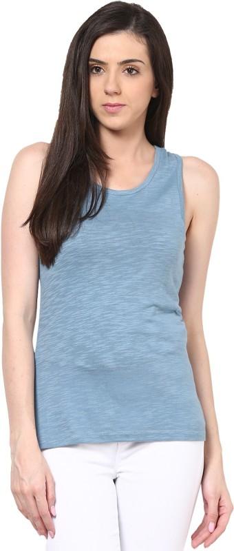 Calgari Casual Sleeveless Solid Women's Blue Top
