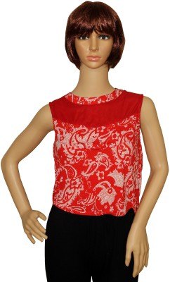 Sarva Party, Casual Sleeveless Printed Women's Red Top