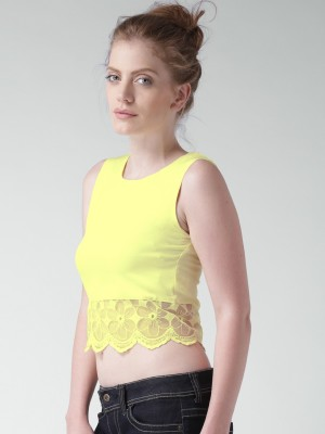 Mast & Harbour Casual Sleeveless Solid Women's Yellow Top