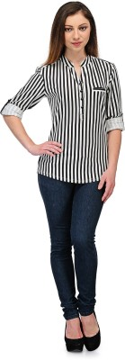 Rockland Life Casual Full Sleeve Striped Women's Black, White Top